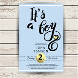 Baby shower invitation with golden detail Royalty Free Stock Image