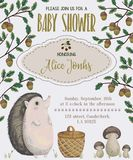 Baby shower invitation with hedgehog, basket, mushrooms, oak and acorn. Cute cartoon character. Hand drawn vector illustration in watercolor style Stock Images
