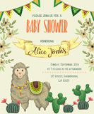 Baby shower invitation with llama animal, cacti and floral elements.. Cute cartoon character. Hand drawn vector illustration in watercolor style Royalty Free Stock Photo