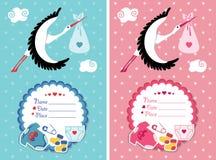 Baby shower invitation with new born baby Stock Photos