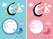 Baby shower invitation with new born baby Stock Photo