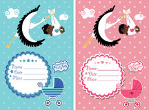 Baby shower invitation with new born baby. Baby shower invitation with stork and new born baby boy and girl Stock Image