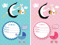 Baby shower invitation with new born baby Stock Images
