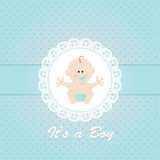 Baby shower invitation , with newborn baby boy Royalty Free Stock Photo