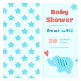Baby shower invitation with a patchwork whale. Blue stars on the turn background Royalty Free Stock Images