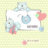 Baby Shower Invitation with Polka Dot Background Royalty Free Stock Image