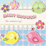Baby shower invitation postcard. With a colorful birds Royalty Free Stock Image