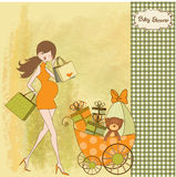 Baby shower invitation with pregnant mother Stock Images