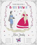 Baby shower invitation with prince, princess, fairy, roses and butterflies. Stock Photo