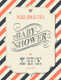 Baby shower invitation in retro style Stock Photography