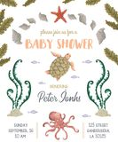 Baby shower invitation with sea plants, corals, seaweed, stones and animals. Hand drawn marine flora and fauna in watercolor style Royalty Free Stock Photos