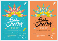 Baby shower invitation set with illustration of headdress for native american indian chief. Baby shower set. Cute invitation cards design for baby shower party Royalty Free Stock Images