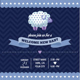 Baby shower invitation with sheep in retro style Royalty Free Stock Photo