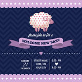 Baby shower invitation with sheep in retro style Stock Images