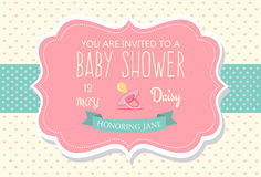 Baby Shower Invitation. Sweet Baby Shower Invitation Card Design. Easy to manipulate, re-size or colorize stock illustration