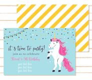 Baby shower invitation template with cute unicorn royalty free illustration