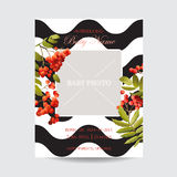 Baby Shower Invitation Template. Floral Greeting Card with Photo Frame. Decoration for Childbirth Party Celebration. Vector illustration Stock Image