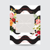 Baby Shower Invitation Template. Greeting Card Photo Frame with Lily and Orchid Flowers. Decoration for Childbirth Party. Celebration. Vector illustration Stock Photography