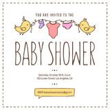 Baby shower invitation template. Hand drawn vintage illustration. Royalty Free Stock Image
