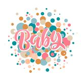Baby Shower Invitation Template with hand lettering vector illustration