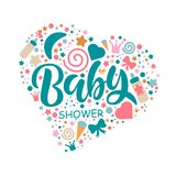 Baby Shower Invitation Template with hand lettering stock illustration