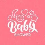 Baby Shower Invitation Template with hand lettering royalty free illustration