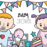 Baby shower invitation to celebrate the new family member. Vector illustration Stock Photos