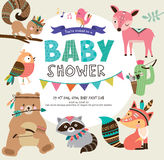 Baby shower invitation. With tribal woodland animals Royalty Free Stock Images