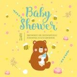 Baby shower invitation vector card. Royalty Free Stock Photo
