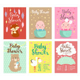 Baby shower invitation vector card. Royalty Free Stock Images