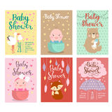 Baby shower invitation vector card. Royalty Free Stock Photos
