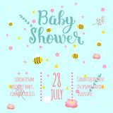 Baby shower invitation vector card. Stock Photo