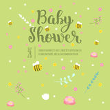 Baby shower invitation vector card. Royalty Free Stock Photos