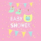 Baby shower invitation vector card. Stock Image