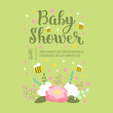 Baby shower invitation vector card. royalty free illustration
