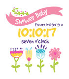 Baby shower invitation vector card Stock Photo