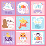 Baby shower invitation vector set card print design layout illustration Royalty Free Stock Photography