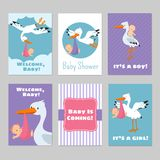 Baby shower invitations vector cards with stork and baby. Arrival boy or girl illustration Stock Image