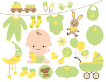 Baby Shower Item Set in Green and Yellow Royalty Free Stock Photos