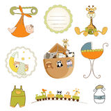 Baby shower items set in vector format Stock Images