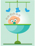 Baby shower - its a boy, dotted background Royalty Free Stock Photos