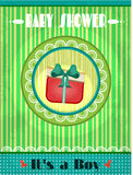 Baby shower - its a boy, green striped background Stock Photos