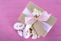 Baby shower Its a Girl natural wrap gift Royalty Free Stock Images