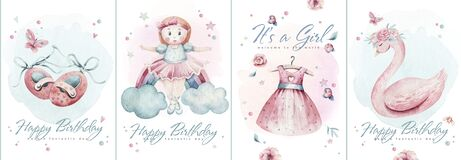 Baby shower kid swan watercolor girl design butterfly cartoon elements. Set of baby pink dress and baby's bootees