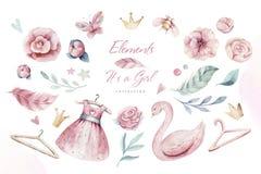Baby shower kid swan watercolor girl design cartoon elements. Set of baby pink birthday balloon toy dress illustration