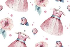 Baby shower kid swan watercolor girl seamless pattern butterfly cartoon elements. Set of baby pink dress and baby`s