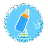 Baby shower label with a baby bottle. Vector illustration design royalty free illustration