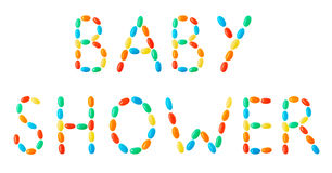 Baby shower lettering made of multicolored candies Stock Photography