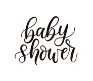 Baby shower lettering template isolated on white background. Min. Imalistic baby shower card design template. Vector illustration Vector Illustration