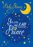 Baby Shower with moon and stars on blue grunge background. Calli Royalty Free Stock Images